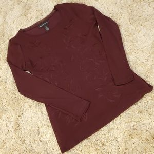 INC Burgundy Embroidery Blouse Size PS